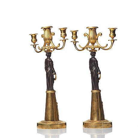 A pair of empire 19th century three-light candelabra,  russia.