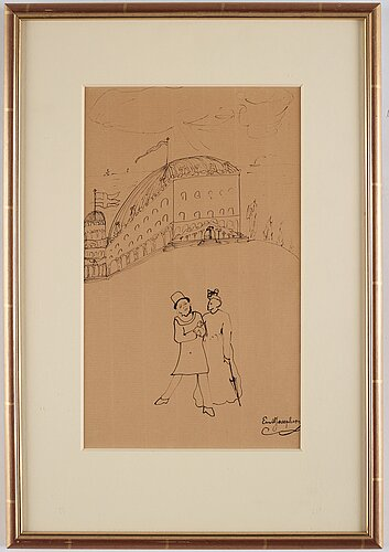 Ernst josephson, indian ink, signed ernst josephson.