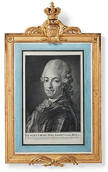 """109. Per Gustaf Floding, """"Gustav III"""" (1746-1792). A carved and gilted gustavian frame."""