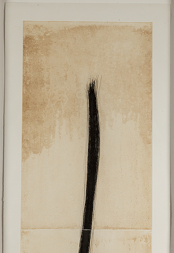 Tom marioni, etching in black and umber, 1997, signed in pencil and numbered tpc.