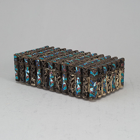 A chinese copper plated with silver and alpaca and enamelled box with cover, 20th century.