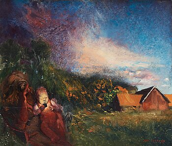 John-E Franzén, oil on canvas, signed JEF and dated 1977-78.