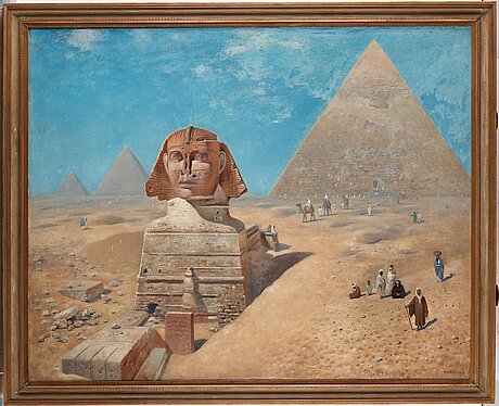 Frans wilhelm odelmark, egyptian landscape with the sphinx and the pyramid of khafre.