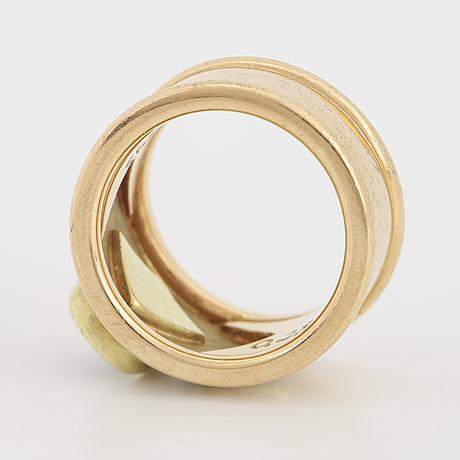 Yellow stone and brilliant-cut diamond ring.