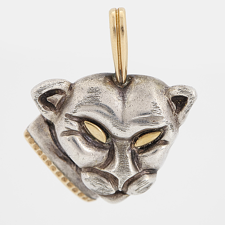 Silver and 18k gold cat pendant.
