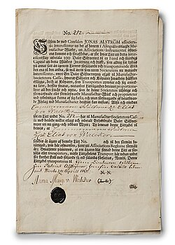106. A Swedish share certificate, Ahlingsåhs Manufaktur Werk, 1728.