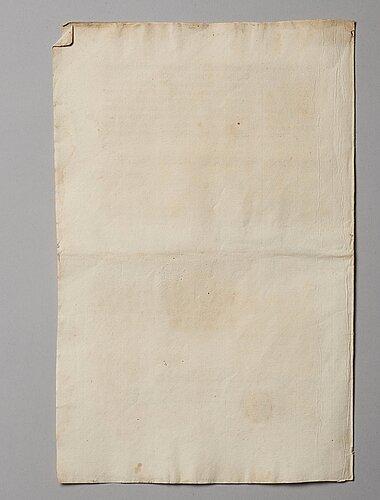 A swedish share certificate, ahlingsåhs manufaktur werk, 1728.