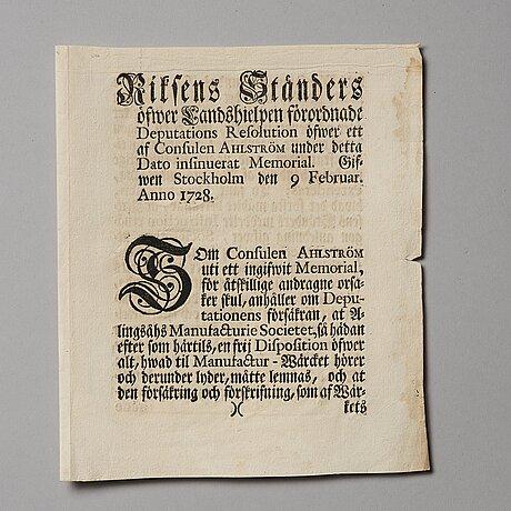 Aktiebrev, ahlingsåhs manufaktur werk (manufactur-societet), no 212, 1728, ett tryckt förordnande medföljer.