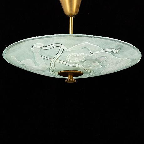 Einar forseth, a glass ceiling light, glössner, 1945.