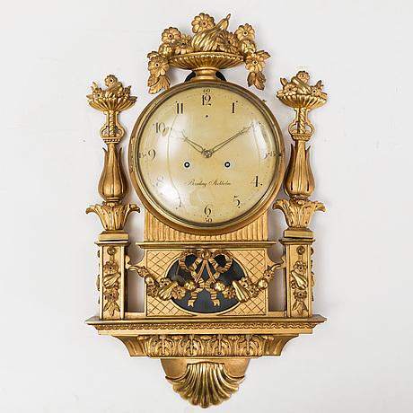 Carl fredrik beurling, a late guastavian wall clock, marked beurling, stockholm.