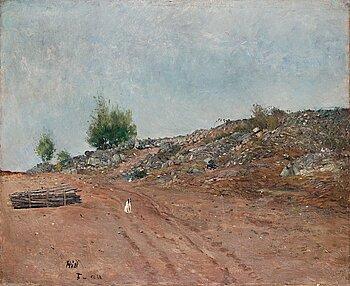 "396. Carl Fredrik Hill, ""Väg med sittande hund, Fontainebleau"" (Road with sitting dog, Fontainebleau)."