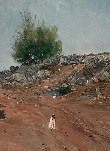 "Carl fredrik hill, ""väg med sittande hund, fontainebleau"" (road with sitting dog, fontainebleau)."