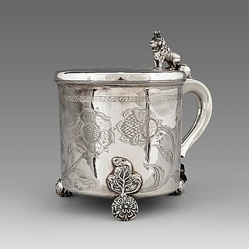 119. A Norwegian 17th century parcel-gilt silver tankard, mark of Hans Jorgensen Bull (Trondhjem 1660-1684).
