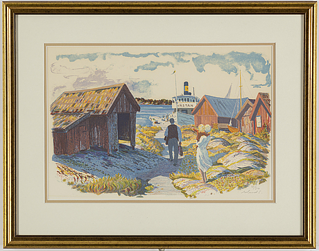 Roland svensson, lithograph in colours, signed 41/360.