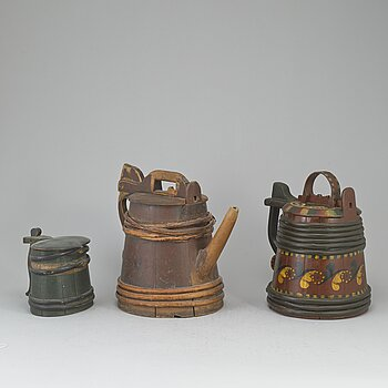 Three painted wooden jars from the 19-20th century.