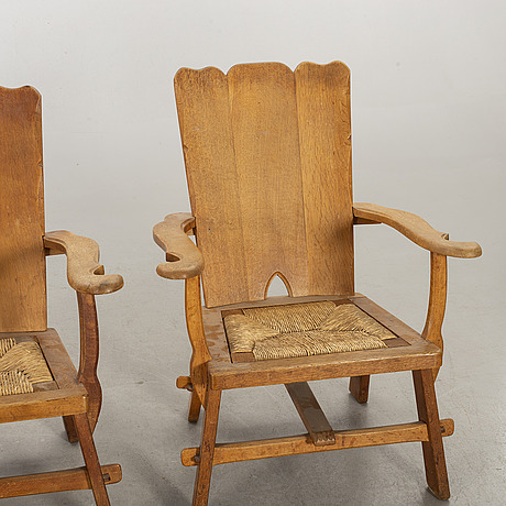 Three easy chairs mid 20th century.