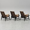 A set of three 1950's easy chairs.
