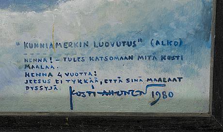 Kosti ahonen, öljy levylle, signeerattu ja päivätty 1980.