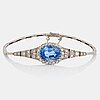 An 18k white gold bracelet set with a faceted sapphire weight ca 7.00 cts.
