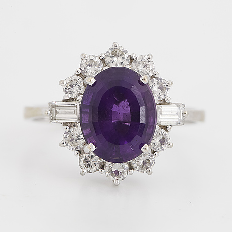 White gold amethyst and diamond ring.