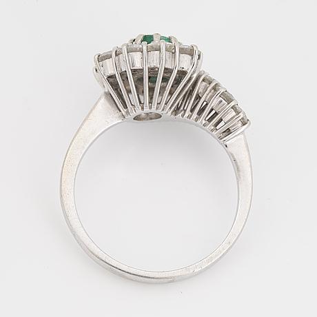 White emerald and brilliant-cut diamond ring.