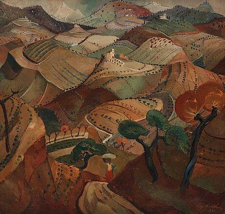 Helge zandén, italian landscape with a woman.