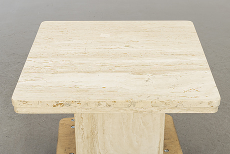 A marble top coffee table.