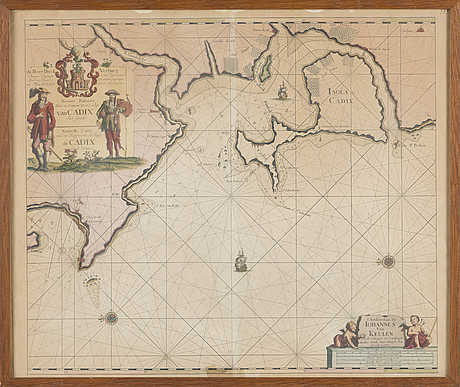 A copper engraved map by johannes van keulen, amsterdam.
