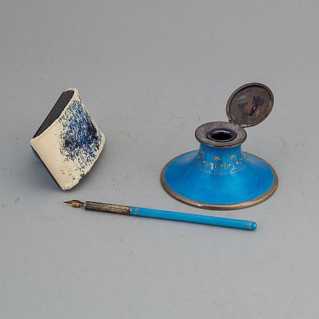 3 psc silver and enamel, david andersen, oslo ca 1910.