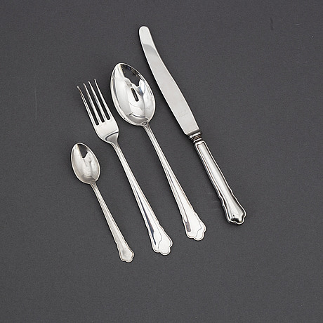 A 'chippendale' silver cutlery, gab, some stockholm 1954 (48 pc).