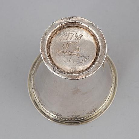 A swedish parcel-gilt silver beaker, mark of henrik nourin, norrköping 1754.