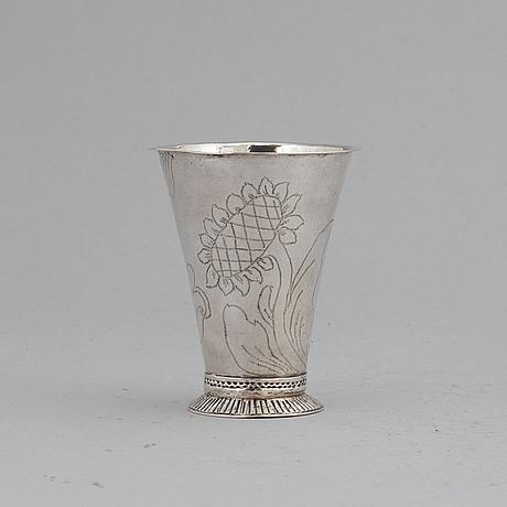 A swedish silver beaker, mark of johan berg, stockholm 1761.