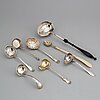 8 silver ladels/spoons, 18th-19th century.