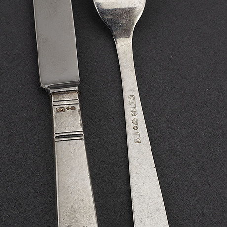 Jacob Ängman, 12+12 'rosenholm' silver cutlery.