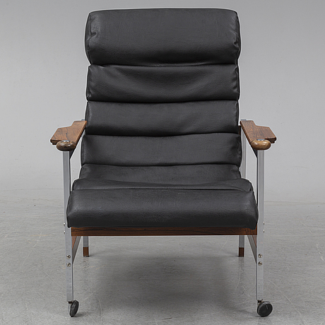 Eric merthen, a rosewood and chrome 'kronfåtöljen' easy chair, ab dahléns fåtöljindustri, dalum, designed in 1967.