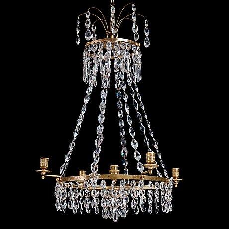 Ljuskrona, för 5 ljus, 1700-talets slut, sengustaviansk.