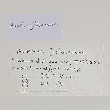 Andreas johansson, fotografi collage signed and numbered 1/3 on verso.