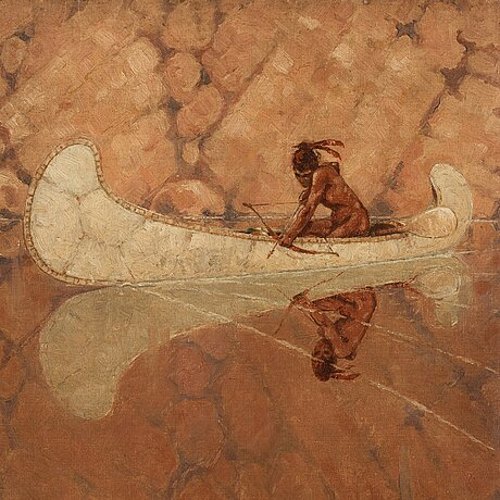Unknown artist, 19/20th century, native american fishing with bow from a canoe.