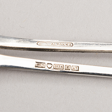 A set of finnish nautical motif cocktail spoons, 7 in silver, one in new silver, auran kultaseppä, turku, 1954-62.