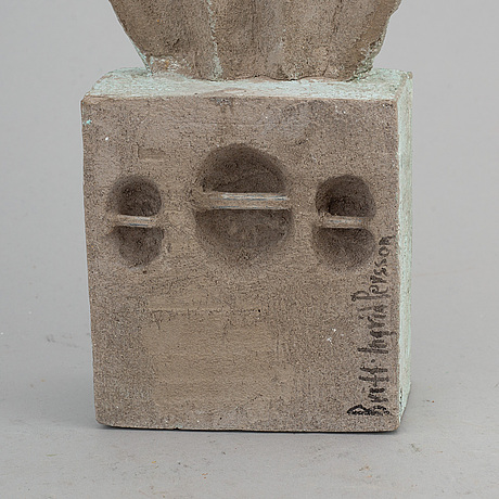 "Britt-ingrid ""bip"" persson, sculpture, concrete, signed."