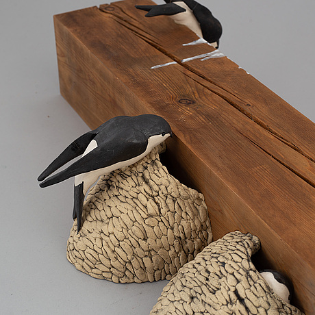 """Britt-ingrid """"bip"""" persson, sculpture, ceramic and wood signed and dated 1977."""