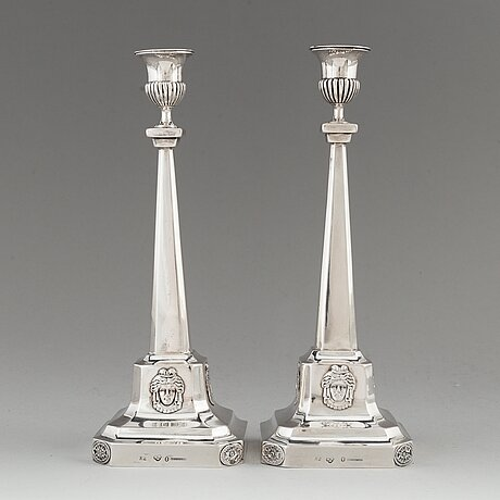 A pair of swedish 18th century silver candlesticks, mark of pehr zethelius, stockholm 1799.