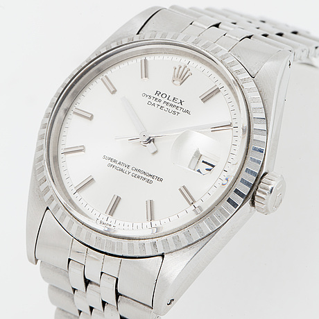 "Rolex, oyster perpetual, datejust, ""no lume dial and hands"", wistwatch 36 mm."
