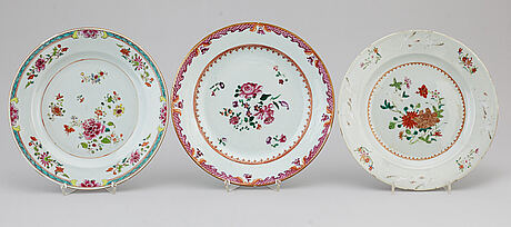 A group of 11 famille rose plates, qing dynasty, qianlong (1736-95).