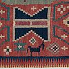 "A carriage cushion, ""träd och timglas"", double interlocked tapestry, ca 101,5 x 50,5 cm, scania, sweden,"