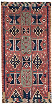 """A CARRIAGE CUSHION, """"Träd och timglas"""", double interlocked tapestry, ca 101,5 x 50,5 cm, Scania, Sweden,"""