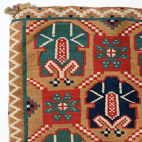 "A carriage cushion, ""palmetter och blommor"", double interlocked tapestry, ca 105 x 54,5 cm, scania, sweden,"