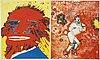 Kjartan slettemark, lithographs in colour, 2, signed 116/250, 117/250.