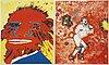Kjartan slettemark, lithographs in colours, 2, signed 113/250, 114/250.