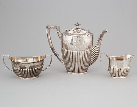 Kaffeservis, 3 delar, silver, empirestil, k andersson, stockholm 1898.